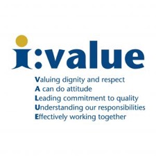 our 5 values. valuing dignity and respect, a can do attitude, leading commitment to quality, understanding our responsibilities, effectively working together