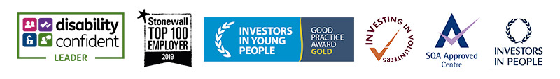 award logos for disability confident leader, stonewall top 100,investors in young people gold award, investing in volunteers, sqa approved centre, investors in people